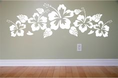 Hawaii flowers habiscus vinyl Wall Decal Extra by VinylOnTheGo Wall Painting Decor, Mural Wall Art, Hawaiian Decor, Bedroom Wall Designs, Wall Drawing, 3d Wall Panels, Geometric Wall, Interior Decorating, Interior Design