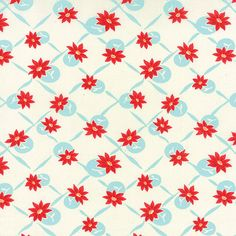 Hey, I found this really awesome Etsy listing at https://www.etsy.com/listing/208510578/white-aqua-red-flower-dot-fabric-moda
