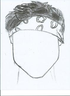 sketch of Ashton Irwin copied onto a full piece of cardstock