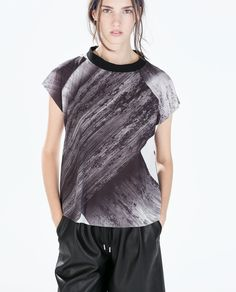 Image 1 of PRINTED FUNNEL NECK T-SHIRT from Zara