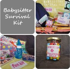 Baby Sitter Survival Kit including printable labels.  Really cute idea!