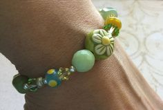 Spring Flower Bracelet Sacred Artwear Green by SacredArtwear