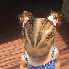 4 braids into buns #plaits #toddlerHair #littlegirlshairstyles #littleGirlsHair #toddlerhairstyles #braids #buns