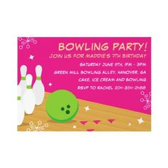 Pink Retro Bowling Birthday Party Invitations by paperdotz, girls night out party idea