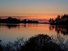 Sunset over Garrison Lake, Port Orford, Oregon