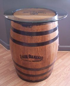 Authentic Laser Engraved and Branded Whiskey Barrel c/ Glass Table Top