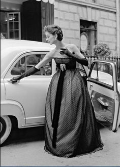 1951 Model in empire waist point d'esprit gown by Christian Dior,