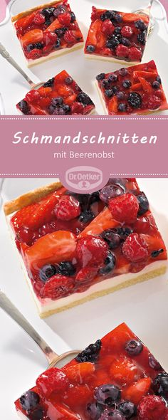 Schmandschnitten mit Beerenobst Schmandschnitten with berry fruit: A fruity fruit cake with sour cream Fruit Recipes, Smoothie Recipes, Cookie Recipes, Dessert Recipes, Desserts, Sour Fruit, Fruit Fruit, Sour Cream Cake, Fruit Kabobs