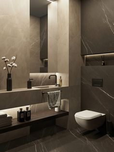 Marble Bathroom Marble Look Bathroom Ideas & Examples With Tiles, Fish Degree, Wash Basin, Bath, Mar Washroom Design, Bathroom Design Luxury, Bathroom Layout, Modern Bathroom Design, Home Interior Design, Modern Toilet Design, Modern Marble Bathroom, Bathroom Black, Marble Bathrooms