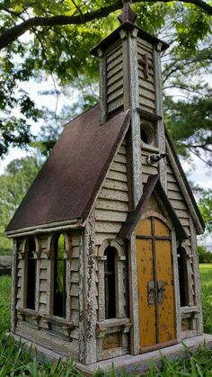 Little country church birdhouse, #17.  https://m.facebook.com/recforthebirds/