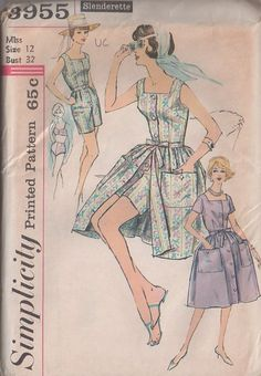MOMSPatterns Vintage Sewing Patterns - Simplicity 3955 Vintage 50's Sewing Pattern SIMPLY THE BEST Rockabilly Pin Up Girl Separates, 2 Piece Bikini Bra Top, Modest Trunks Bottoms Bathing Suit, Playsuit, Bell Shaped Overskirt Skirt A Must Have!