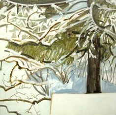 Lois Dodd, Snow and Spruce, 1989 oil on masonite 16 x 16 inches