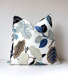 Modern Blue and Taupe Decorative Designer Pillow Cover 20 Accent floral navy cobalt wedgewood grey black gray Josef Frank Style spring via Etsy