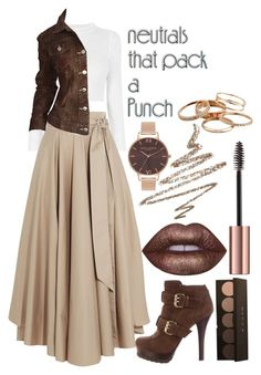 """""""Neutrals"""" by angelxalice ❤ liked on Polyvore featuring TIBI, Todd Oldham, Fendi, Lime Crime, Anastasia Beverly Hills, Olivia Burton, Kendra Scott, simple, neutrals and earthtones"""