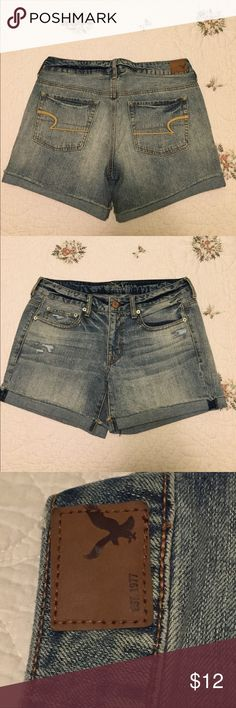 AMERICAN EAGLE Light Wash Jean Shorts! 🌞 AE light wash jean shorts!🌞 longer which makes them great for school!📚 minor styled rip accents and in great condition! American Eagle Outfitters Shorts Jean Shorts