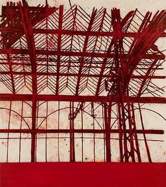 'Red Interior' (2011) by British artist Tony Bevan (b.1951). Charcoal, pigment…