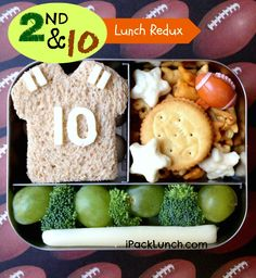 Football Lunch Take Two! School Lunch Menu, School Snacks, Cute Food, Good Food, Baby Food Recipes, Snack Recipes, Lunch To Go, Lunch Time, Bento Box Lunch
