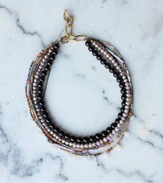 Light pink beige and burgundy short Necklace by charlottehosten