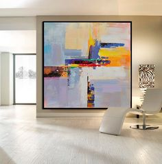 Handmade Large Contemporary Art Canvas Painting, Original Art Acrylic Painting, Abstract Canvas Art. Yellow, Red, Blue, White, Orange. von CelineZiangArt auf Etsy https://www.etsy.com/de/listing/254922605/handmade-large-contemporary-art-canvas