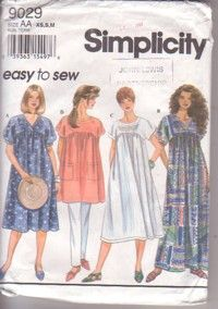 """Simplicity Sewing Pattern 9029, Misses Dress in 2 Lengths or Tunic, SizeAA  XS,S,M Eur TP,P,M  Bust 78-80,83-87,92-97cm 30½-31½,32½-34,36-38"""", pattern good, envelope fair, 16080 £3.99"""