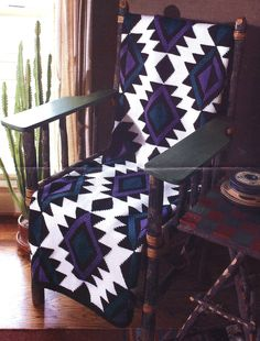 Aztec Afghan Crochet Pattern Indian Inspired Geometric Blanket Throw Instructions Finished size when completed by you will be approximately 50 by 73 inches ... Uses worsted weight acrylic yarn ... Worked in 3 panels of afghan stitch ... Instruc...