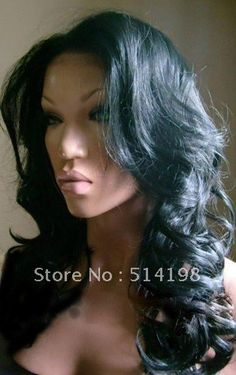 "Free shipping hot sale,cheap brazilian lace front wigs,16""malaysian remy virgin human hair full lace wig wavy hair black color on $220"