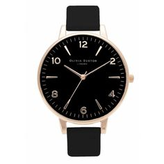 Olivia Burton Modern Vintage Large Black Dial Watch - Black & Rose... ($105) ❤ liked on Polyvore featuring jewelry, watches, accessories, bracelets, rose gold jewelry, pink gold watches, rose gold watches, black face watches and quartz movement watches