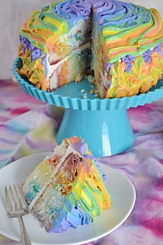 Rainbow Jello Poke Cake  Use this idea with a gluten free cake and make sure your frosting is also gluten free.