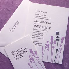 lavender wedding invitation. All I would change is maybe adding sage green in it somehow, and making the font bigger and more readable.