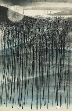 He Huaishuo(何怀硕 Chinese, b.1941) 月落 1970 104 x 68.3 cm via