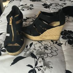 Black and rope wedges Look EXACTLY like the Michael Kors wedges but I bought these before those came out! They are so comfy and work well with tons of outfits. Shoes Wedges