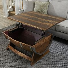 Buy the Reclaimed Wine Barrel Coffee Table With Unique Lift-Top at Wine Enthusiast – we are your ultimate destination for wine storage, wine accessories, gifts and more! Wine Barrel Fire Pit, Wine Barrel Coffee Table, Whiskey Barrel Furniture, Wine Barrels, Industrial Furniture, Vintage Furniture, Vintage Industrial, Scraped Wood Floors, Home Bar Rooms