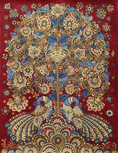 Kalamkari Painting Tree of Life Signed Folk Art 'Celebration II' Novica India Pichwai Paintings, Indian Art Paintings, Mural Painting, Peacock Painting, Madhubani Art, Madhubani Painting, Traditional Paintings, Traditional Art, Kalamkari Designs