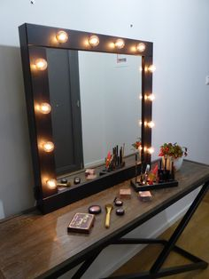 Make up Mirror with lights Vanity mirror wall by CraftersCalendar