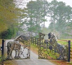 Estate Gates Front Gates, Entrance Gates, All The Pretty Horses, Beautiful Horses, Horse Barn Designs, Custom Metal Art, Metal Gates, Dream Barn, Ranch Life