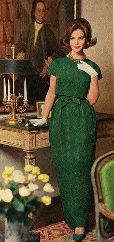 1962 green formal dress. I would love it shorter.