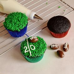 Have to make these for a Football Party this year!! Championship Chocolate Cupcakes by Cakewalker