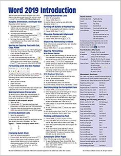 Amazon ❤ Microsoft Word 2019 Introduction Quick Reference Guide - Windows Version (Cheat Sheet of Instructions, Tips & Shortcuts - Laminated Card)