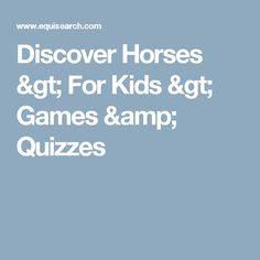 Discover Horses > For Kids > Games & Quizzes
