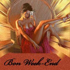 Gif scintillant - Femme - Brune - Sexy - Bon week-end !
