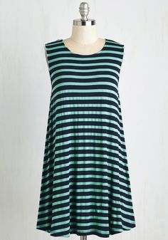 My Stride in Joy Dress in Stripes. Chic, versatile, and ever-so soft, this navy and mint shift dress never fails to send you on your way with cheer. #blue #modcloth
