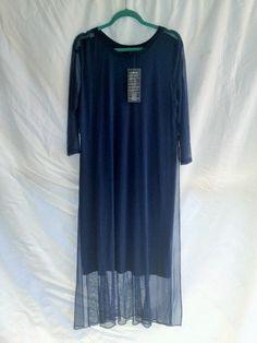 MarlaWynne Mesh Illusion Stretch Knit Overlay Lagenlook Dress Size XL NWT #MarlaWynne #Maxi