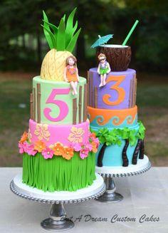 Luau Birthday party - Cake by Elisabeth Palatiello Luau Cakes, Beach Cakes, Party Cakes, Birthday Party At Park, Luau Birthday, Birthday Parties, Hawaiian Birthday Cakes, Hawaiian Luau, Hawaiin Cake