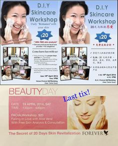 For our DIY Skincare Workshop coming 19th April -- who would like to own this LAST TIX?   Vienna 9072 2401 viennag@thealoepremises.com