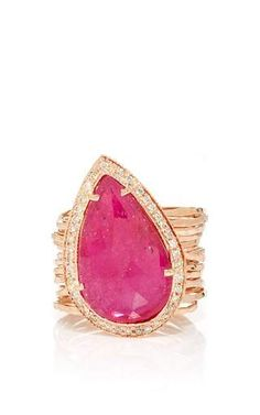 Pave teardrop ruby multi waifs ring by JACQUIE AICHE for Preorder on Moda Operandi