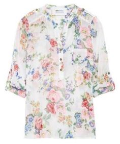 "I love this floral top but I'm afraid it could lean toward an ""old lady"" blouse. I think it could look really cute (and younger) with colored jeans."