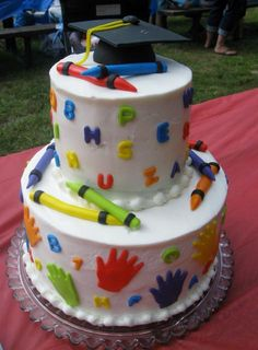 JPG 2 Tier Kindergarten Graduation Cake Crayon Them Graduation Cakes Pictures, Crayon Cake, Cupcakes Lindos, Teacher Cakes, Fiesta Cake, School Cake, Retirement Cakes, Kindergarten Graduation, Birthday Cake Decorating
