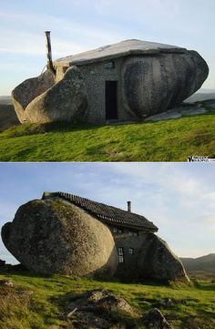 Stone House; Fafe Mountains in Portugal. Constructed between two giant stones and linked with a concrete mix.