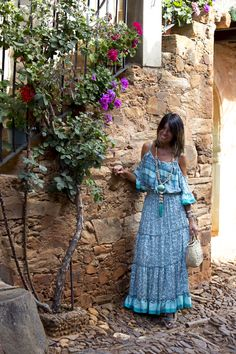 """Bohemian turquoise dress"" : Alice rises up Look Boho, Boho Style, Boho Summer Dresses, Blue Dresses, Boho Chic, Turquoise Dress, Summer Street, Kaftan, Boho Fashion"