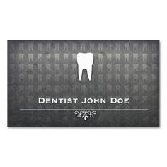 Metallic grey dentist dental office business card